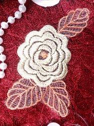 "GB44 Beige Flower Embroidered Applique Floral 4.25"""