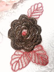 GB44 Brown Flower Embroidered Applique Floral 4.25""
