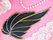 "Leaf Applique Black Navy Blue and Gold Metallic Embroidered Iron On 7"" (GB442)"