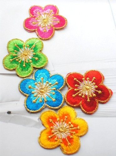 GB447 Yellow Orange Embroidered Flower Applique Clothing Patch 1.75""