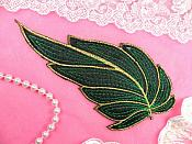 "Leaf Applique Black Green and Gold Metallic Embroidered Iron On 7"" (GB448)"