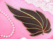 "Leaf Applique Black Red and Gold Metallic Embroidered Iron On 7"" (GB448)"