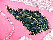 "Leaf Applique Black Turquoise and Gold Metallic Embroidered Iron On 7"" (GB448)"