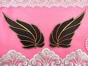 """ONE SIDE Leaf Appliques Mirror Pair Black Red and Gold Metallic Embroidered Iron On 7"""" (OSGB449)"""