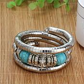 Turquoise Stone Bangle Bracelet Silver Metal Tube Vintage Fashion Jewelry (GB452-tr)