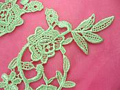 """Embroidered Appliques Lime Green Mirror Pair Floral 13"""" (GB458X-lm)"""