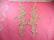 "Embroidered Appliques Beige Mirror Pair Floral 12"" (GB459X-bg)"