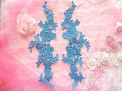 Embroidered Appliques Turquoise Mirror Pair Floral 12