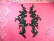 "Embroidered Appliques Hunter Green Mirror Pair Floral 12"" (GB459X-hgr)"