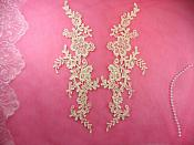"Embroidered Appliques Ivory Mirror Pair Floral 12"" (GB459X-iv)"