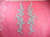 "Embroidered Appliques Light Blue Mirror Pair Floral 12"" (GB459X-lbl)"