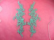 """Embroidered Appliques Aqua Mint Mirror Pair Floral 12"""" (GB459X-mtgr)"""
