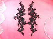 "Embroidered Appliques Navy Blue Mirror Pair Floral 12"" (GB459X-nv)"