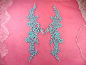 "Embroidered Appliques Light Turquoise Mirror Pair Floral 12"" (GB459X)"