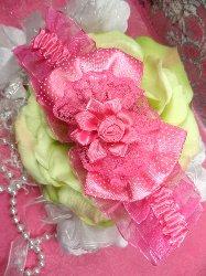 "GB46 Fuchsia Rose Floral Lace Bow Headband 3.5"""