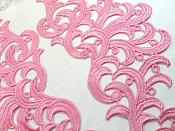 "Embroidered Appliques Pink Scroll Mirror Pair Patch 10"" (GB463X)"