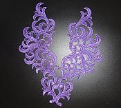 "Embroidered Appliques Purple Scroll Mirror Pair Patch 10"" (GB463X)"