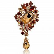 "Bridal Brooch Teardrop Dangle Bronze Champagne Crystal Glass Rhinestone Victorian 4"" (GB466-ch)"