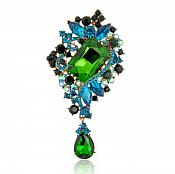"Bridal Brooch Teardrop Dangle Green Turquoise Crystal Glass Rhinestone Victorian 4"" (GB466-gr)"