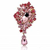 "Bridal Brooch Teardrop Dangle Pink Ice Crystal Glass Rhinestone Victorian 4"" (GB466-pk)"