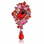 "Bridal Brooch Teardrop Dangle Red Pink Crystal Glass Rhinestone Victorian 4"" (GB466-rd)"