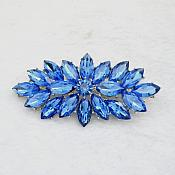 "Marquise Brooch Silver Blue Crystal Rhinestone Glass Pin 3"" (GB467-bl)"