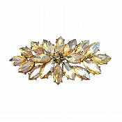"Marquise Brooch Silver Champagne Crystal Rhinestone Glass Pin 3"" (GB467-ch)"