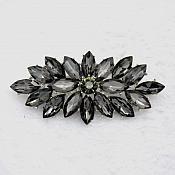 """Marquise Brooch Silver Gunmetal Crystal Rhinestone Glass Pin 3"""" (GB467-gm)"""