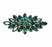 """Marquise Brooch Silver Emerald Green Crystal Rhinestone Glass Pin 3"""" (GB467-gr)"""