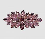 "Marquise Brooch Silver Plum Crystal Rhinestone Glass Pin 3"" (GB467-pl)"