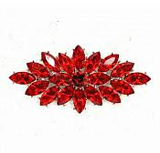 "Marquise Brooch Silver Red Crystal Rhinestone Glass Pin 3"" (GB467-rd)"