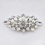 """Marquise Brooch Silver Crystal Rhinestone Glass Pin 3"""" (GB467-slcr)"""
