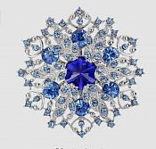"Snowflake Brooch Silver Blue Crystal Rhinestone Glass Pin 2"" (GB468-blsl2)"