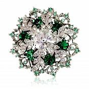 "Snowflake Brooch Silver Green Crystal Rhinestone Glass Pin 2"" (GB468-grsl)"