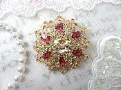 "Snowflake Brooch Gold Pink Ice Crystal Rhinestone Glass Pin 2"" (GB468-pkgl)"