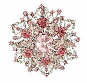 "Snowflake Brooch Silver Pink Ice Crystal Rhinestone Glass Pin 2"" (GB468-pksl)"