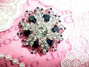 "Snowflake Brooch Silver Sapphire Blue Crystal Rhinestone Glass Pin 2"" (GB468-sasl)"