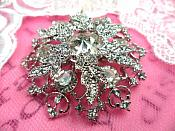 "Snowflake Brooch Silver Crystal Rhinestone Glass Pin 2"" (GB468-slcr)"