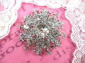 "Snowflake Brooch Silver Crystal Rhinestone Glass Pin 2"" (GB468-slcr)"