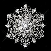 "Snowflake Brooch Silver Crystal Rhinestone Glass Pin 2.25"" (GB469-slcr)"
