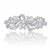 """Rhinestone Brooch Silver Crystal Glass Bouquet Ribbon Pin 3"""" (GB471-slcr)"""