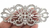 """Brooch Silver Crystal Rhinestone Glass Ribbon Pin 3"""" (GB472-slcr)"""