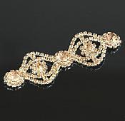 """Champagne Rhinestone Applique Silver Setting Embellishment 3"""" (GB483)"""