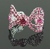 "Dark Fuchsia Rhinestone Applique Silver Setting Embellishment 3"" (GB483)"