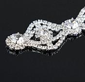 """Crystal Rhinestone Applique Silver Setting Embellishment 3"""" (GB483)"""