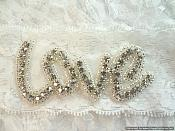 Bridal Rhinestone Love Garter Lace (GB484)