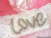 Bridal Rhinestone Love Garter Lace (GB484)