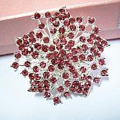 "Bridal Brooch Mauve Silver Glass Rhinestone Victorian 2"" (GB487)"