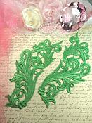 """Embroidered Appliques Green Scroll Design Mirror Pair Motifs Patch 9"""" (GB490X)"""