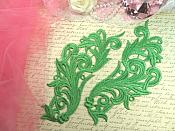 "Embroidered Appliques Green Scroll Design Mirror Pair Motifs Patch 9"" (GB490X)"